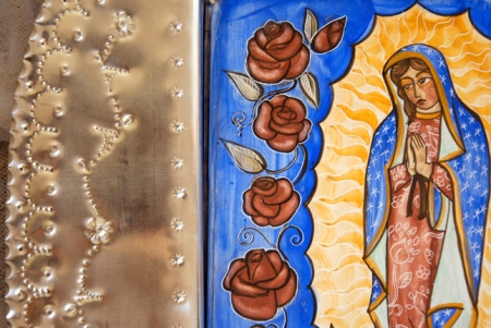 detail of Our Lady of Guadalupe in Tin